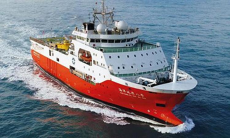 Tàu khảo sát Địa chất Hải Dương 8 của Trung Quốc trong hoạt động năm 2018.